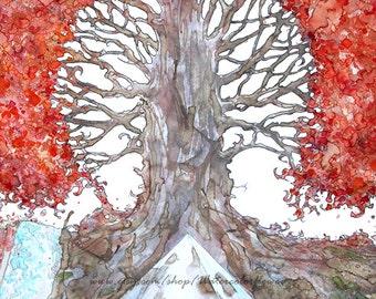 Original watercolor painting Tree of life, tree art, painting tree,  watercolor art, nature wall art
