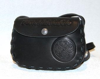 """Small shoulder bag """"AYNO""""; black bag; Ieather bag; Fashion evening cocktail bag; Handmade; Small handbag leather"""