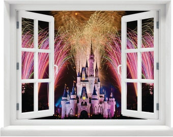 Window with a View Fireworks over Disney Castle Wall Mural
