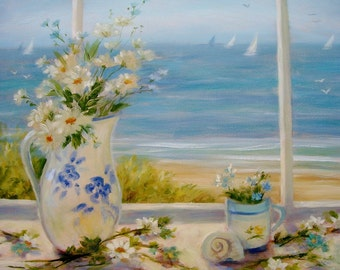Beach art, 11 x 14 print, Daisies in vase with blue flowers, seascape, shabby chic, cottage, coastal, from original painting by Tina Obrien