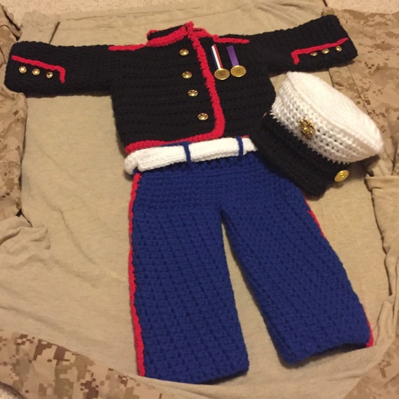 Crochet usmc dress blues military uniform baby shower t