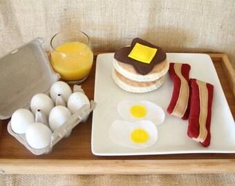 Felt Breakfast Set - Pancakes, Bacon, Eggs