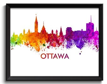 Ottawa Skyline City Cityscape Canada Colorful Watercolor Poster Print Modern Abstract Landscape Art Painting Red Purple Pink Yellow Green
