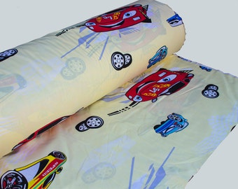 Cotton fabric, Nurser fabric, 100% Cotton, Yellow Red Cars, Fabric by Yard, Sewing Textile, Printed Fabric