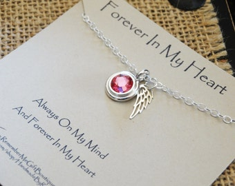 Memorial Jewelry, Sympathy Gift, Memorial Necklace, Forever In My Heart Birthstone Memorial Jewelry, Tiny Sterling Silver Memorial Jewelry