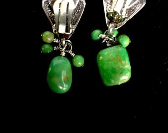Green stone earings