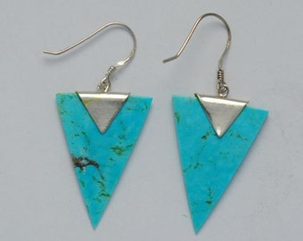 Turquoise earrings natural triangular with sterling silver