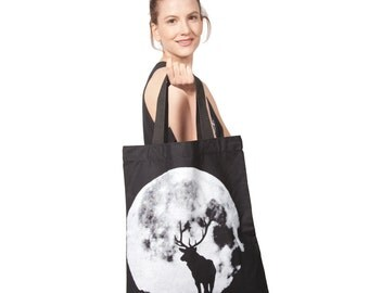 Cotton Canvas Wolf in the Moon Tote Bag