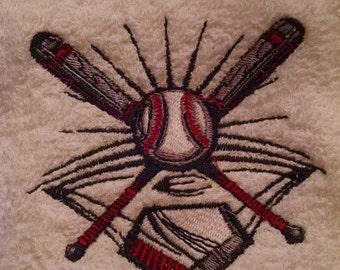 Baseball Embroidered Hand Towel