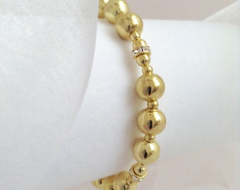 Got to Have it Gold Ball Bracelet with Swarovski Crystal Spacers