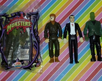 Lot of 4 1990s Universal Monsters Burger King Toys
