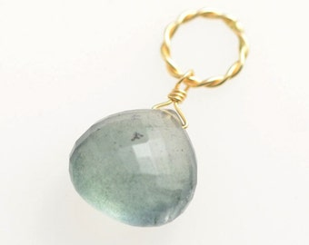 Moss Aquamarine Necklace Charm - 14k Gold Filled