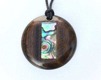 Wooden Pendant from Lignum Vitae and Abalone Shell