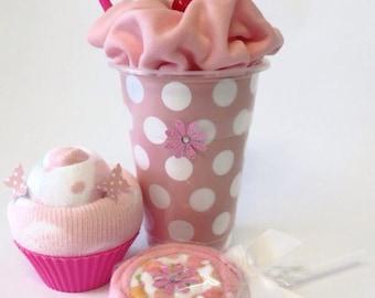 Baby Shower Gift Set - Pink, Bodysuit Milkshake, Socks Cupcake and Washcloth Lollipop, Unique Baby Shower Gift.