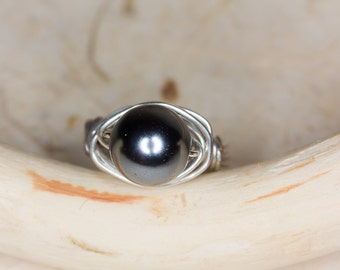 Black Pearl Ring Silver