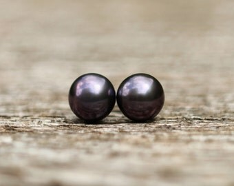Black Pearl Studs, Freshwater Pearl Earrings, Tiny Stud Earrings, Pearl Stud Earrings, Real Pearl Studs, Bridesmaid Gift, Bridal 7mm Studs