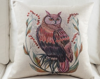 Owl Animal Print Decorative Cushion Cover Pillow Case