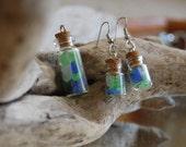 mini bottle matching necklace earring set, bottle earrings, glass vail earring necklace. glass bottle set. cork bottle set