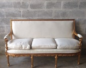 Make It Your Own* Antique French Louis XVI Sofa Settee Couch Refinished Gold Leaf Gild Frame Square Settee Baroque *Ready for New Fabric*