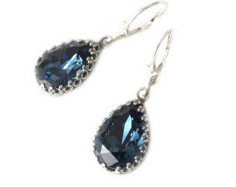 Classy Earrings, Teardrops, Blue Dangle Earrings, Blue Earrings Crystal Earrings Teardrop Earrings Sterling Silver Tear Drop Earring Silver