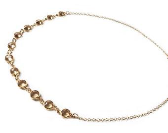 Dainty Necklace, Crystal Necklace, Handmade Necklace Gold Topaz Necklace Elegant Swarovski Crystal Necklace Best Seller Birthday Christmas