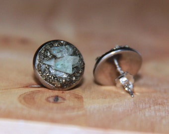 Pyrite Nuggets Aquamarine Studs Bohemian Jewelry Turquoise Earrings Raw Stones Artisan Earrings Simple Everyday Earrings Gemstone Earrings