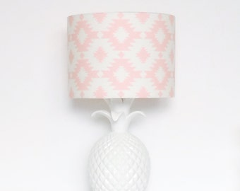Pink & White Aztec Drum Lampshade for Children's Interior Decor