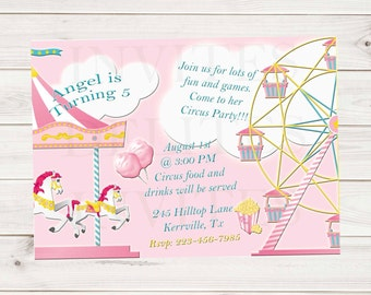 Girls Pink Circus Horse Carousel Popcorn Cotton Candy Ferris Wheel Birthday Invitation 5x7 - Contact me to create an invite with your ideas