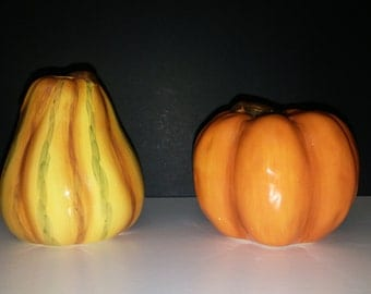 Thanksgiving Pumpkin and Gourd Salt and Pepper Shakers