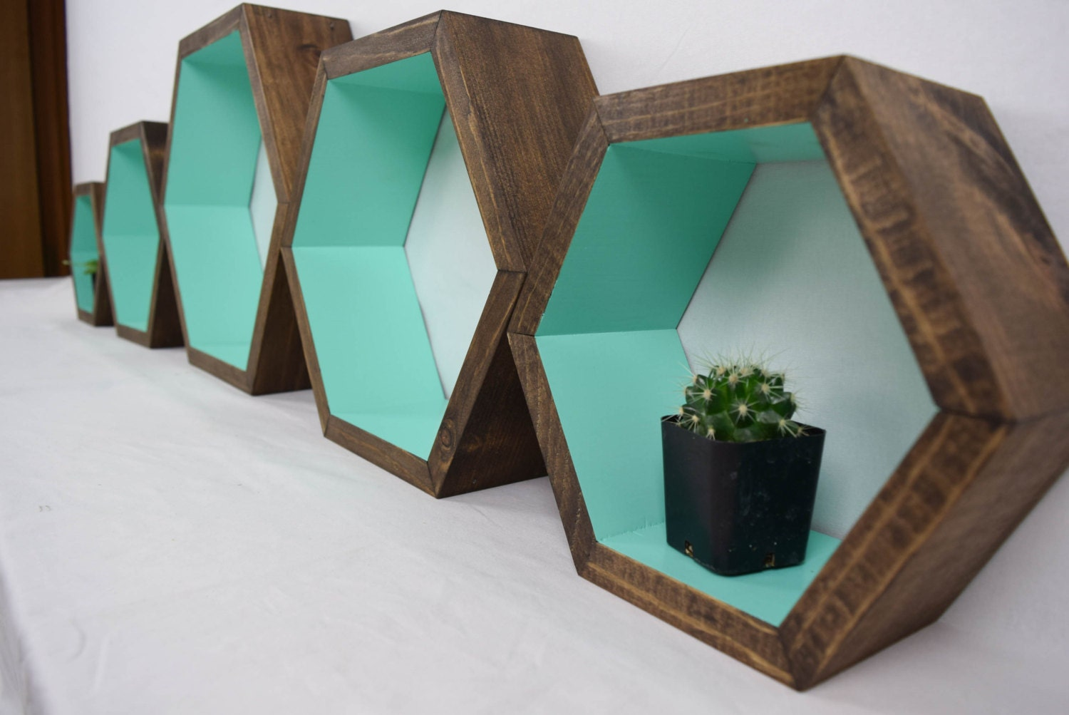 hexagon shelves geometric shelves wood by roamingrootswoodwork. Black Bedroom Furniture Sets. Home Design Ideas