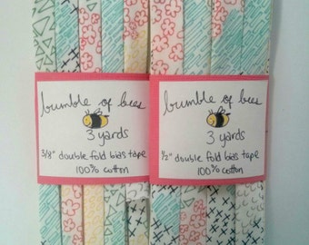 "Multicoloured Doodles on White Happy Home Double Fold Bias Tape - 3 yards, CHOOSE 3/8"" or 1/2"" wide"