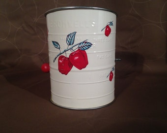 Bromwells Vintage Apple 3 Cup Flour Sifter with red wood handle,Vintage Kitchen 1950's Bromwell Apple Flour Sifter