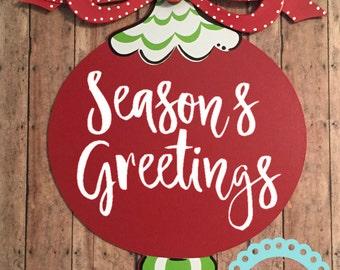 Christmas Door Hanger Monogrammed Christmas Ornament Door