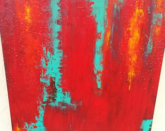24 x 30 original abstract acrylic painting by Rogue on backstapled canvas.