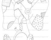 ASU Patchwork Elephant Digital Stamp