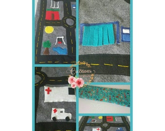 Quiet time roll up car playmat