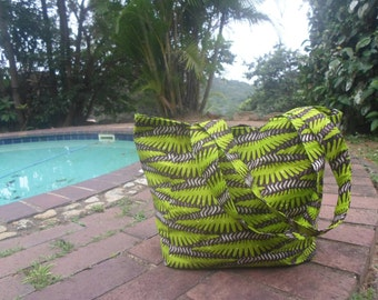 Lime Green African print tote bag