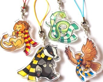 Hogwarts House Charms - Gryffindor, Slytherin, Ravenclaw, Hufflepuff