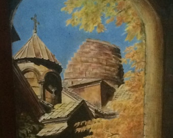 Acrylic painting on canvas of an Armenian church