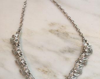 Vintage Coro silver tone leaf necklace