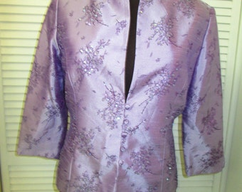 Vintage Jessica Howard lavender and sequined jacket. Absolutely beautiful. So many possibilties. Size 10