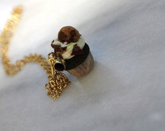Miniature Chocolate Cupcake Topped with a Chocolate Chip Cookie Necklace
