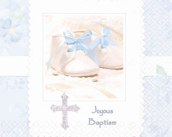 Tiny Blessings Baby Baptism Paper Napkins and Plates in Blue & Pink