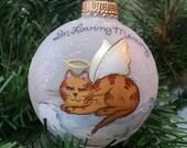 Cat Memorial Ornament, Cat Angel, Beloved Pet, Handpainted Ornament, Cat on Cloud, Christmas Keepsake, Free Inscription