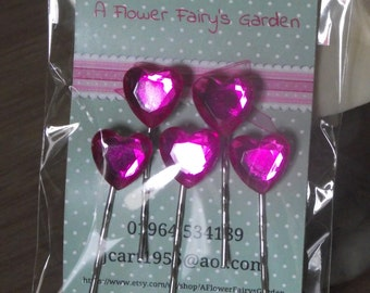 Gorgeous heart shaped top quality crystals hair slides (x5) on kirby grips - great for weddings and festivals