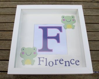 Girl nursery wall art - personalised name frame - baby girl name frame - christening gift - pink and purple nursery - Frog Nursery Art. L1