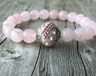 Gemstone bracelet, Pink bracelet, Kashmiri bracelet, Kashmiri Jewelery, Bohemian bracelet, Woman gift, Boho Stretch stacking bracelet