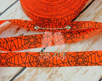 Spider web Halloween grosgrain ribbon 2 yards or 5 yards option for hair bows headbands 7/8 size