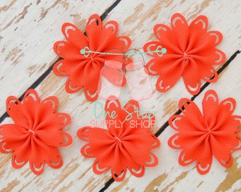 5 burnt orange flower 65x65mm size  for hair bows headbands and crafts
