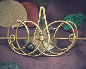 Hair Barrettes Hair Accessories  Brass Hair slide Geometry Style, Metal Hair Clip Unusual Gift For her